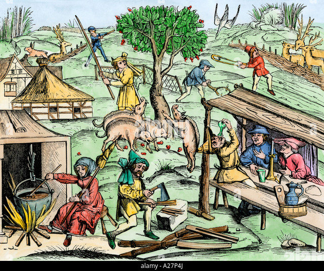Medieval country life - Stock Image