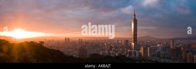Panoramic view of Taipei 101, Taipei, Taiwan - Stock Image