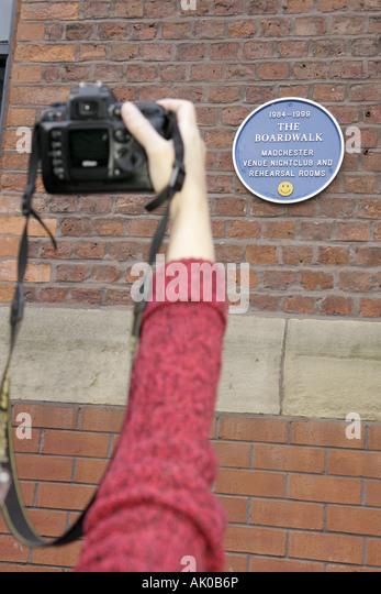 Manchester England UK Bridgewater Street Club Music Walking Tour plaque The Boardwalk - Stock Image