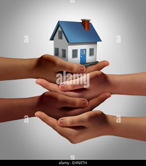 Community housing concept and neighbor support or neighborhood watch symbol as a connected group of diverse hands - Stock-Bilder