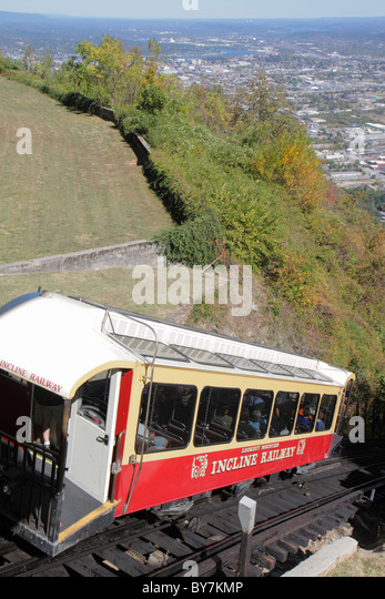 Tennessee Chattanooga Lookout Mountain Incline Railway parallel-track funicular steep slope trolley car scenic view - Stock Image