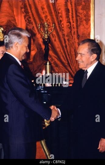 Former U.S. President Richard Nixon (Right) meeting Russian President Boris Yeltsin inside the Kremlin in Moscow, - Stock Image