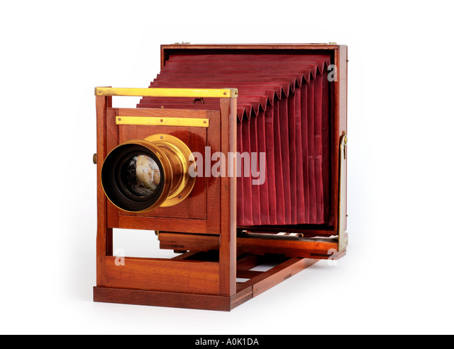 Antique Wooden View Camera - Stock Image