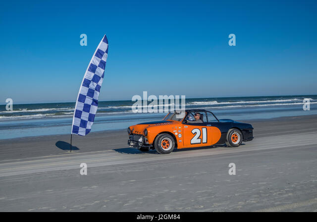 Antique NASCAR cars, North Turn, Ponce Inlet, Florida, USA - Stock Image