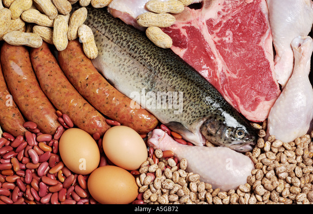 Assortment of meats and meat alternatives high in iron and protein - Stock Image