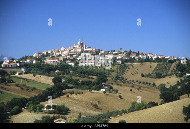 View of Loreto city of Pilgrimage for followers of the Roman Catholic Religion Le Marche Italy - Stock Image