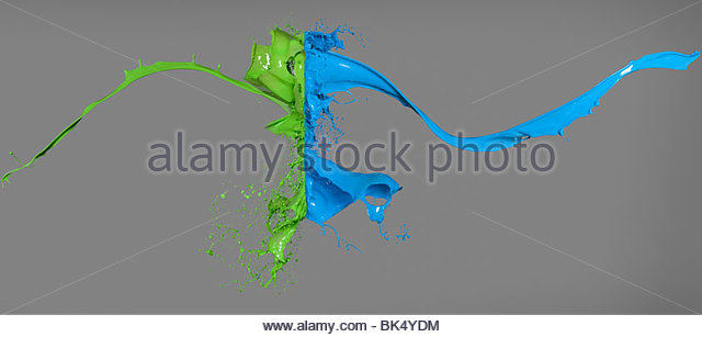 Green and blue paint colliding - Stock Image
