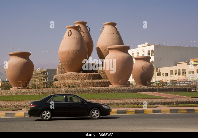 United Arab Emirates Fujairah Dibba traffic roundabout - Stock Image