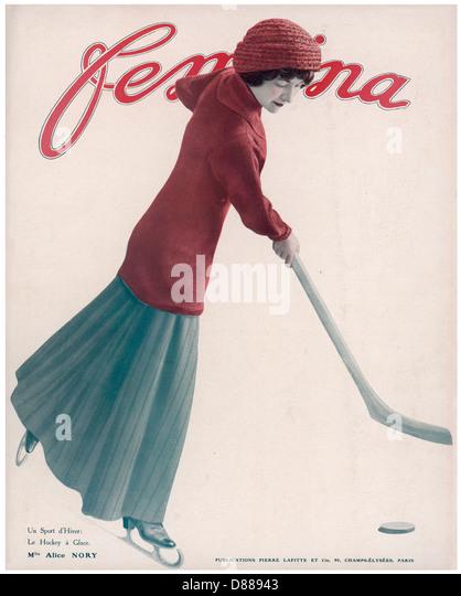 Woman Plays Ice Hockey - Stock Image