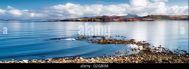 Panoramic of Gruinard island, or anthrax island as it is also known, taken from the coastal A832 road in Wester - Stock Image
