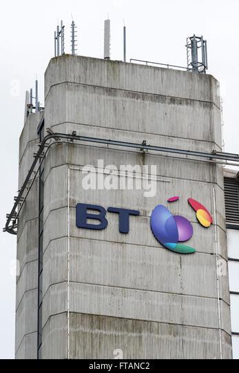 BT (British Telecom) sign logo. - Stock Image