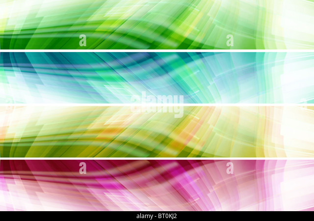 Set of abstract colorful banners with wavy patterns - Stock Image