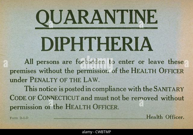 Early 20th century quarantine sign for the contagious disease diphtheria. - Stock Image