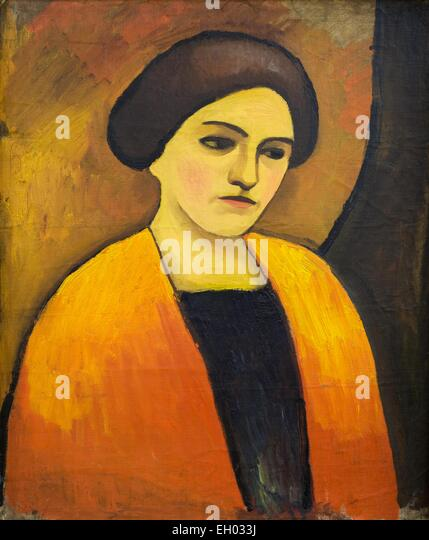 ActiveMuseum_0003172.jpg / Frauenkopf in Orange und Braun - Woman's head orange and brown - oil on canvas 06/12/2013 - Stock Image