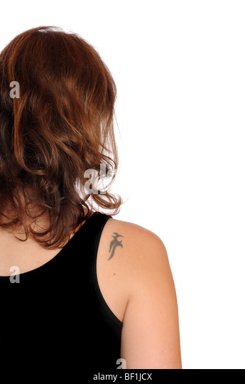 Young woman with a small tattoo in her shoulder - Stock-Bilder