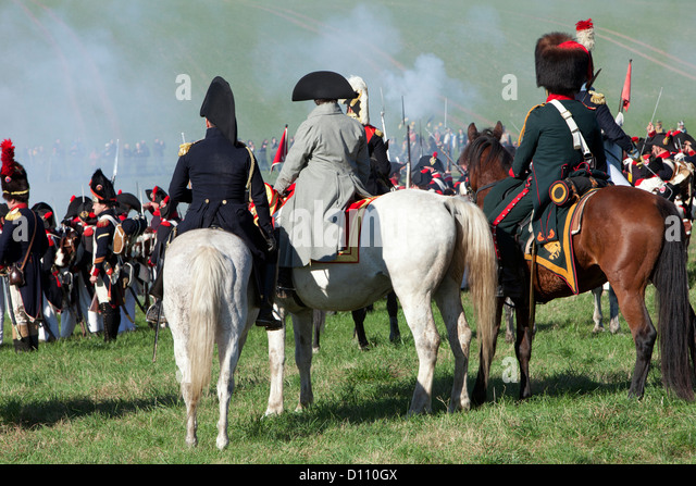 Napoleon Bonaparte leading his troops at the Battle of Jena-Auerstedt in Germany - Stock Image