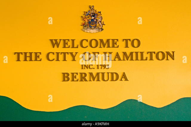 Bermuda Hamilton cruise ship Port welcome sign - Stock Image