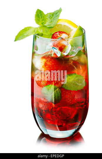 Strawberry mojito in elegant highball glass without straw. Cold refreshing cocktail with lime and mint. Traditional - Stock Image