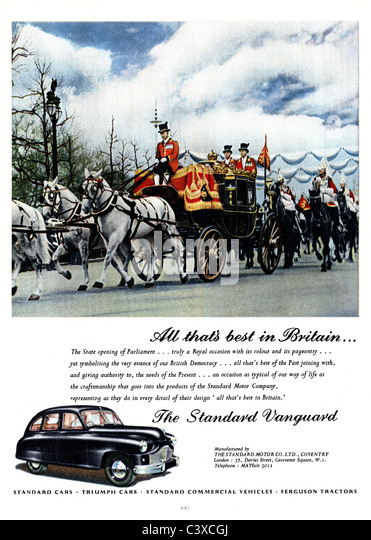 Advertisement for the Standard Motor Company's car, the Standard Vanguard, from The Festival of Britain guide, - Stock-Bilder