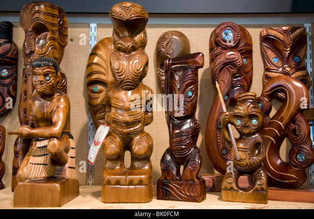 Maori carving rotorua new zealand stock photos