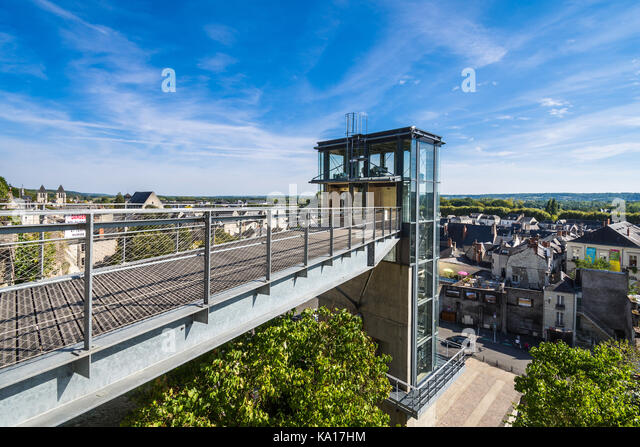 Public lift from town centre to chateau, Chinon, France. - Stock Image
