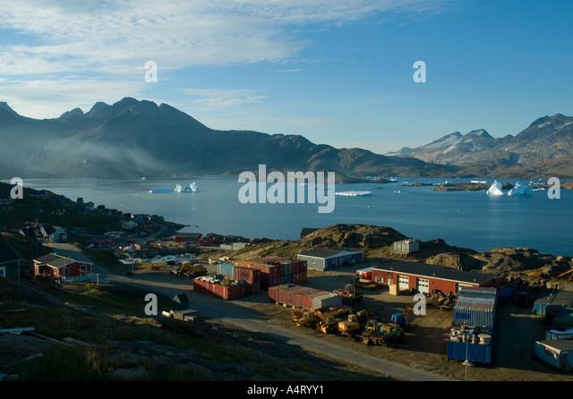 The village of Tasiilaq, Angmagssalik Island, Sermilik Fjord, East Greenland - Stock Image