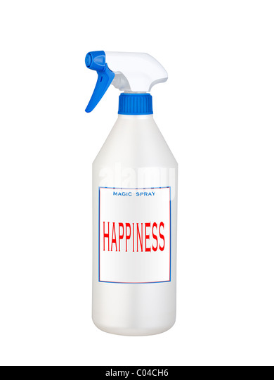 happiness magic spray isolated on white background - Stock-Bilder