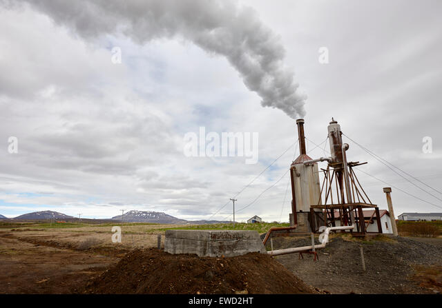 small rural community geothermal energy plant southern iceland - Stock Image