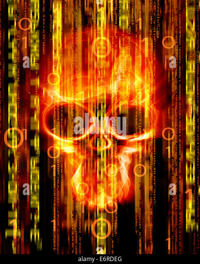 digital abstract background with skull - Stock Image