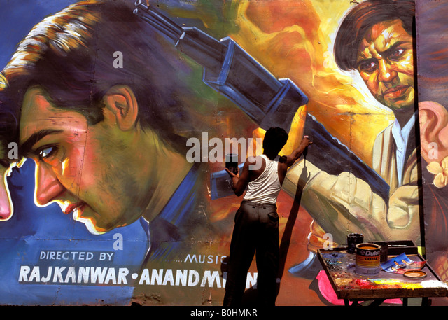 An artist hand painting a Bollywood film poster, Delhi, India. - Stock-Bilder