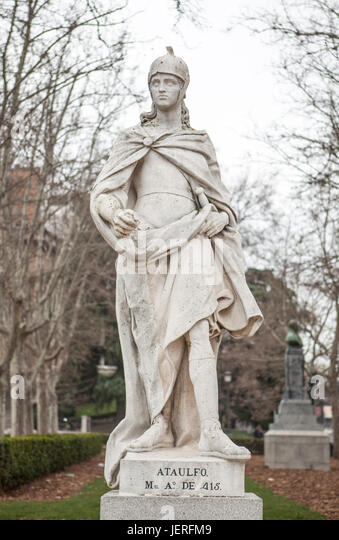 Madrid, Spain - february 26, 2017: Sculpture of Ataulf King at Plaza de Oriente, Madrid. He was king of the Visigoths - Stock Image