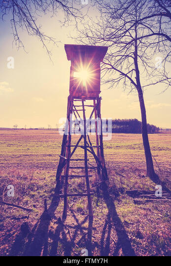Old film vintage stylized hunting pulpit against sun, Poland. - Stock Image