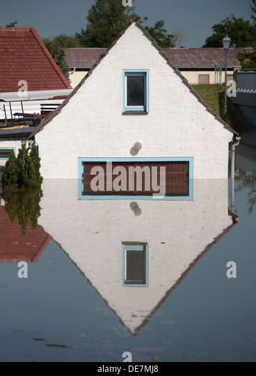 Muehl, Germany, flooded by the flood house - Stock Image