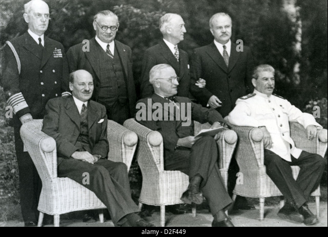 POTSDAM CONFERENCE July-August 1945. Front row from left: Clement Attlee. Harry Truman, Joseph Stalin-see Description - Stock Image