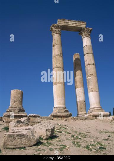 Temple of Hercules, The Citadel, Amman, Jordan, Middle East - Stock Image