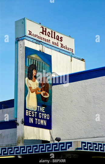 Tarpon Springs Fl Hellas Greek Restaurant sign gyros on Dodecanese Avenue Sponge Docks - Stock Image