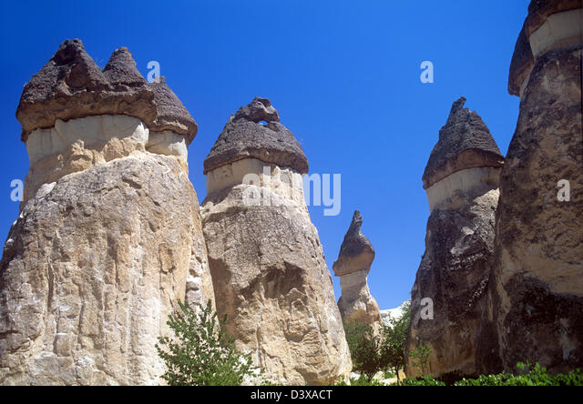 Unusual natural stone formations in Cappadocia, Turkey - Stock Image