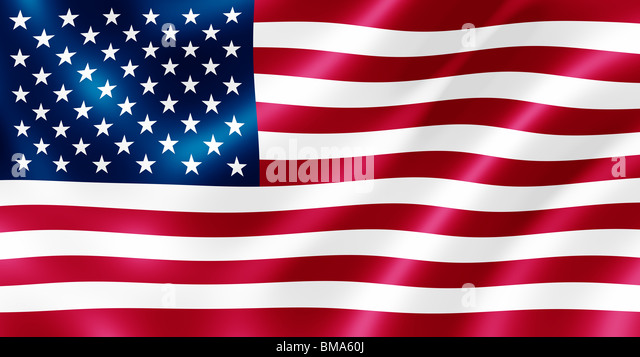 USA flag blowing in the wind illustration. - Stock Image