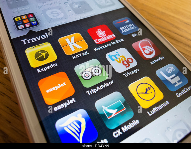 detail of many travel apps on an iPhone 5 smart phone - Stock-Bilder