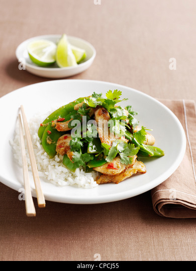 Plate of chicken with rice and herbs - Stock Image