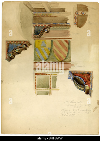 Dated 1886 architectural study of the Bargello art museum, also known as Bargello Palace or Palazzo del Popolo (Palace - Stock Image