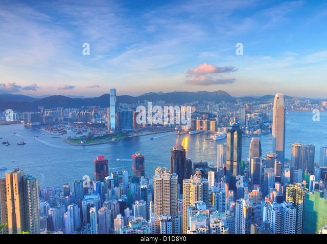 Victoria Harbour of Hong Kong, from the Peak. - Stock Image