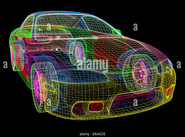 Computer-aided design of a car - Stock Image