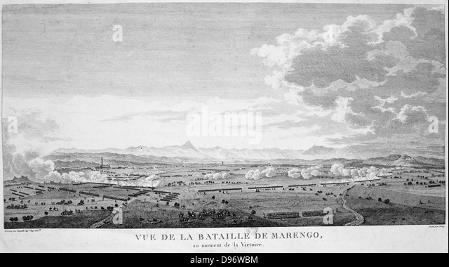 Field of the Battle of Marengo, 14 June 1800 at the moment of victory. French forces under Napoleon defeated Austrians. - Stock Image