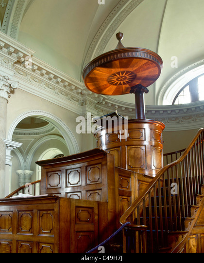 A three-tier mahogany pulpit with overhead sounding board in Gibside Chapel - Stock Image