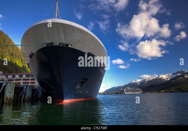 Close up of the Holland America cruise ship Statendam's bow docked at Juneau on a sunny day, Southeast Alaska, - Stock Image