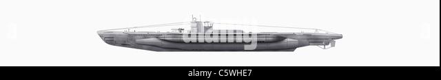 Illustration of submarine against white background, close up - Stock Image