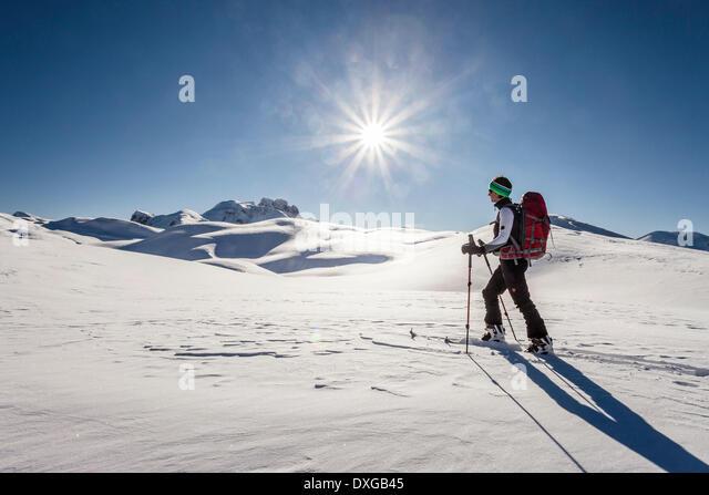 Ski tourer during the ascent of Mt Seekofel near St Vigil or San Vigilio di Marebbe, Fanes-Sennes-Prags Nature Park - Stock Image