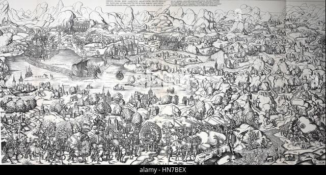 The landscapes around Lake Constance, Germany, at the end of the 15th century, Die Landschaften um den Bodensee, - Stock-Bilder