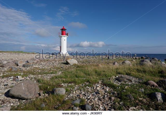 Manija lighthouse in Manija island. Estonia 9th July 2017 - Stock Image